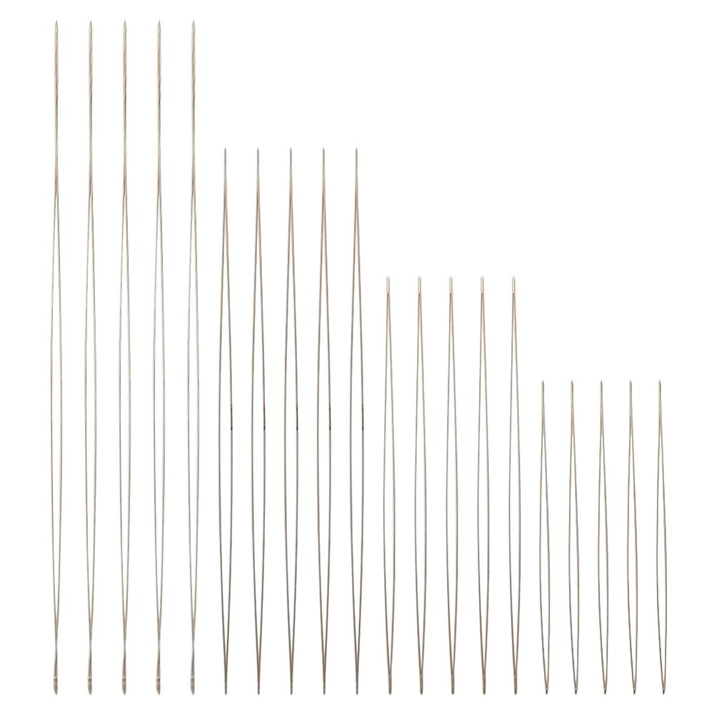 Stainless Steel Big Eye Beading Needles DIY Jewelry Tool Stainless Steel Color, 57~125x0.3mm; 2pcs/size 8pcs/set