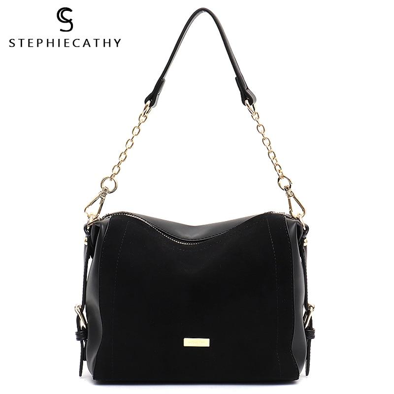 SC Luxury Brand Suede Patchwork Women Bags Soft Nubuck Handbag for Girls Chain Shoulder Bag Ladies Hobo Crossbody Messenger BagsShoulder Bags   -
