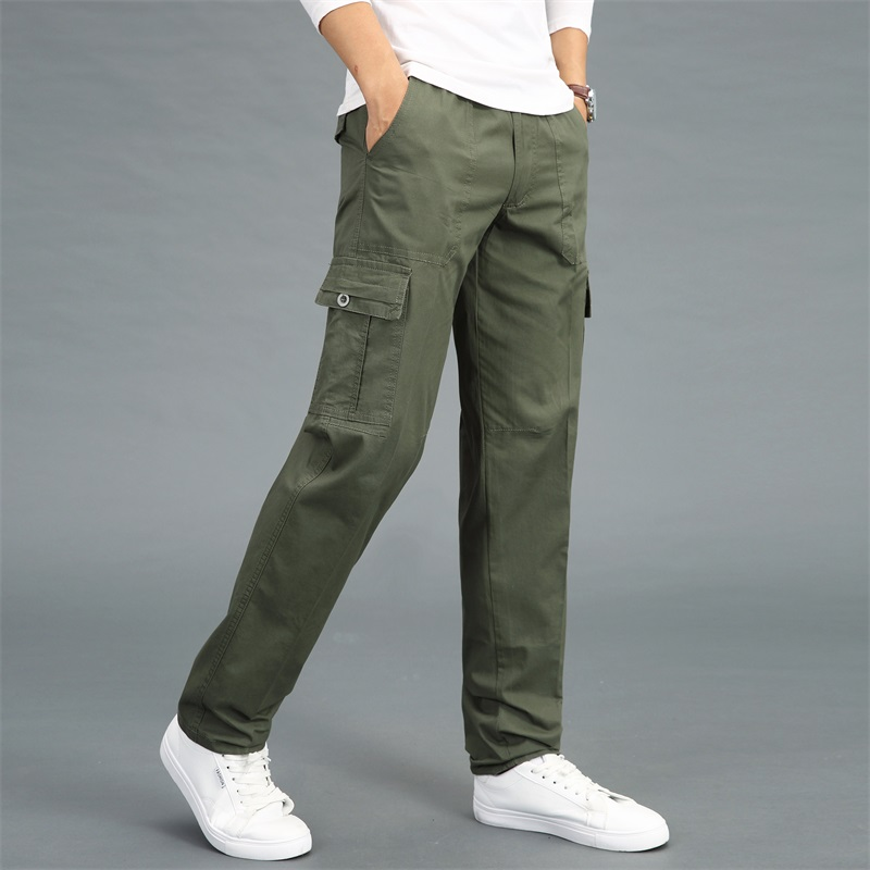 Men Pocket Loose Casual Overalls Cotton Trouser Outdoor Military Pant Size M-6XL