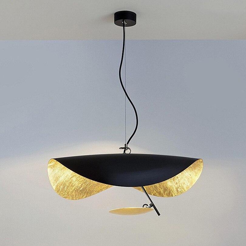 Postmodern Curved Surface LED Pendant Lights Flying Saucer Hat Art Home Decor Hanglamp Living Room Restaurant Kitchen Lights