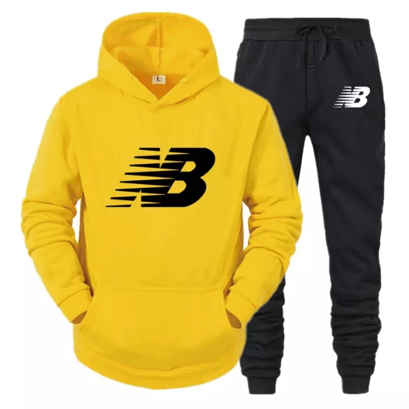 Tracksuit Men Fashion Hoodies Men Suits Brand NB Sets Men Sweatshirts+Sweatpants Autumn Winter Fleece Hooded Pullover