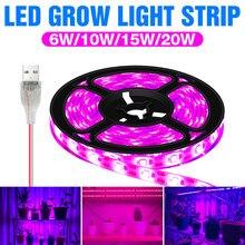 USB Pianta Luci A Intensità 0.5m 1m 2m 3m impermeabile Spettro Completo Ha Condotto LA STRISCIA Fiore Phyto Lampada LED scatola di Crescita serra Idroponica