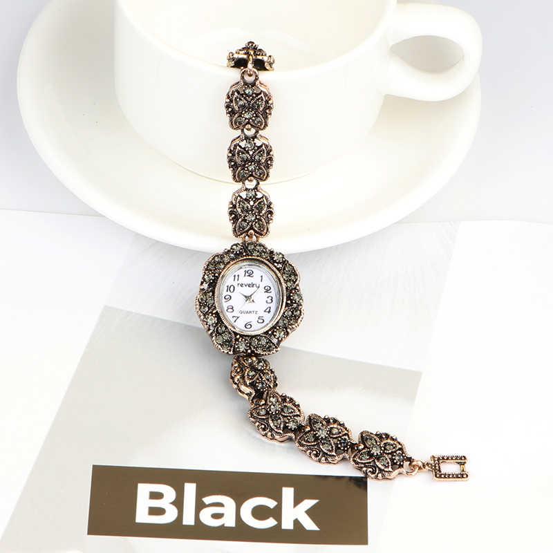 QINGXIYA ยี่ห้อผู้หญิงโบราณทองสร้อยข้อมือนาฬิกาสีเทา Rhinestone LADIES นาฬิกาข้อมือควอตซ์ Casual ผู้หญิงชุด Colck