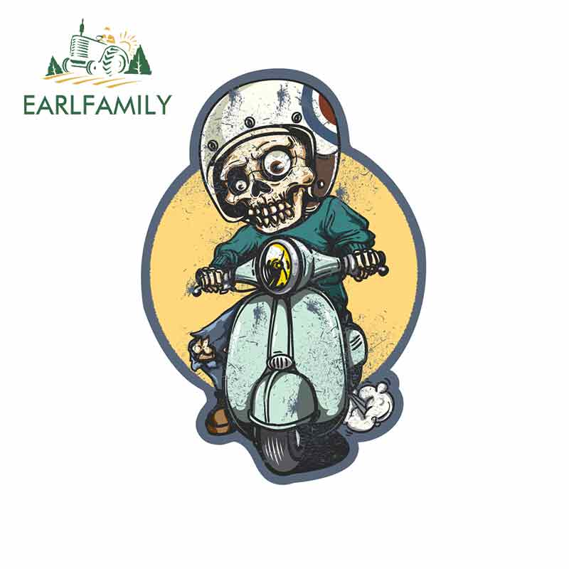 EARLFAMILY 13cm x 13cm for Skeleton Skull Riding Motorbike Funny Car Stickers Vinyl JDM Waterproof Anime DIY VAN Fine Decal image