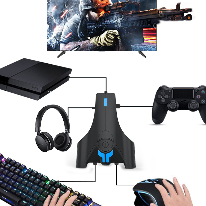 Keyboard And Mouse Adapter Converter With 3.5mm Headphone Jack For Nintendo Switch/PS4/Xbox One/PS3 Console