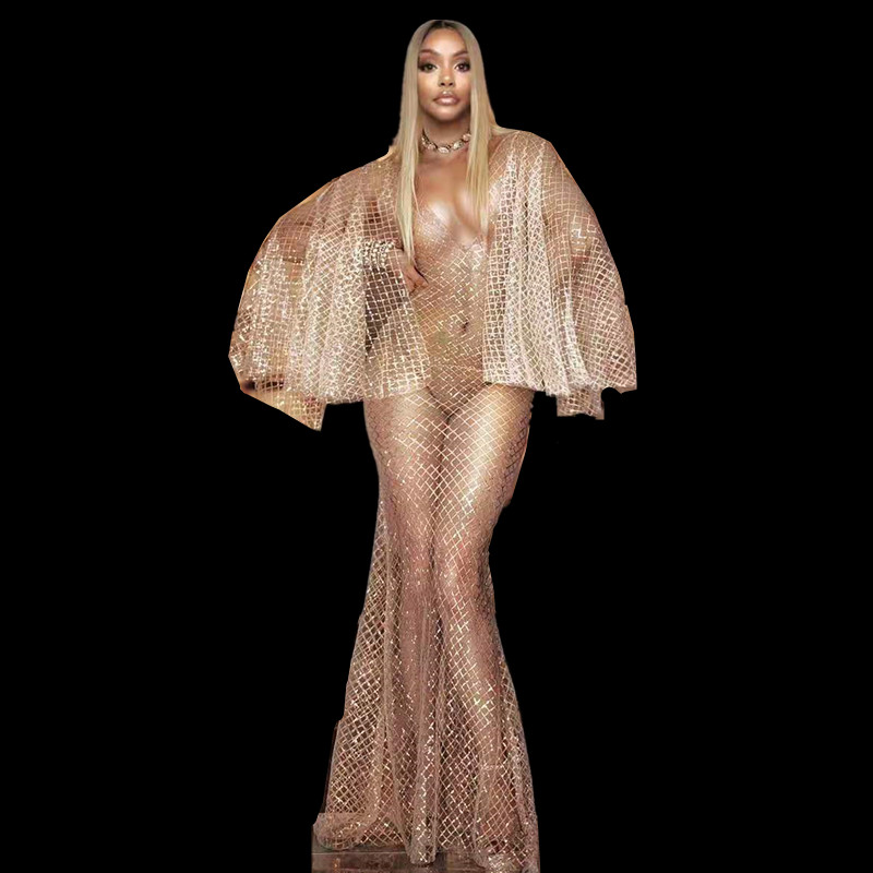 Sexy Deep V Perspective Sequin Evening Long Dress Women Mesh See Through Party Dress Singer Floor Length Dress Stage Costumes