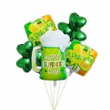 Wine-Cup Balloons Patrick's-Day Clover 5pcs Festival Ireland Green Aluminum
