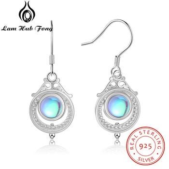 Vintage 925 Sterling Silver Drop Earrings for Women Ethnic Moonstone Brincos Dangle Earrings Fine Jewelry Statement Party Gift