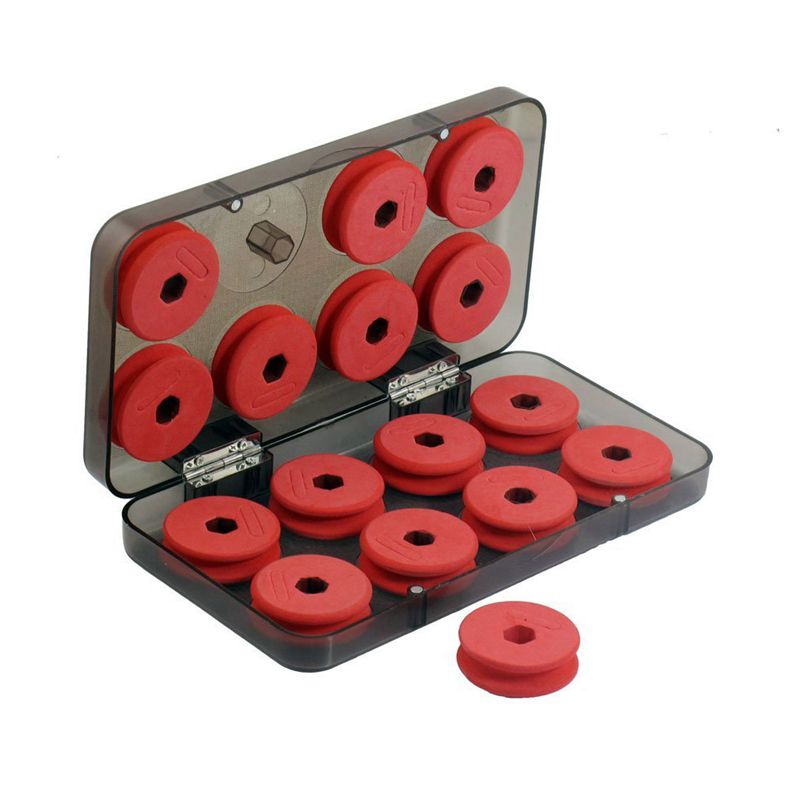 Red Foam Fishing Line X16 Coil Reels with Plastic Box Case