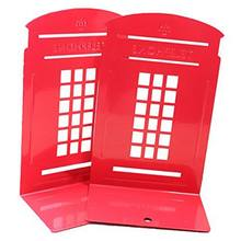1 Pair London Telephone Booth Design Anti-Skid Bookends Book Shelf Holder Stationery (Red)(China)