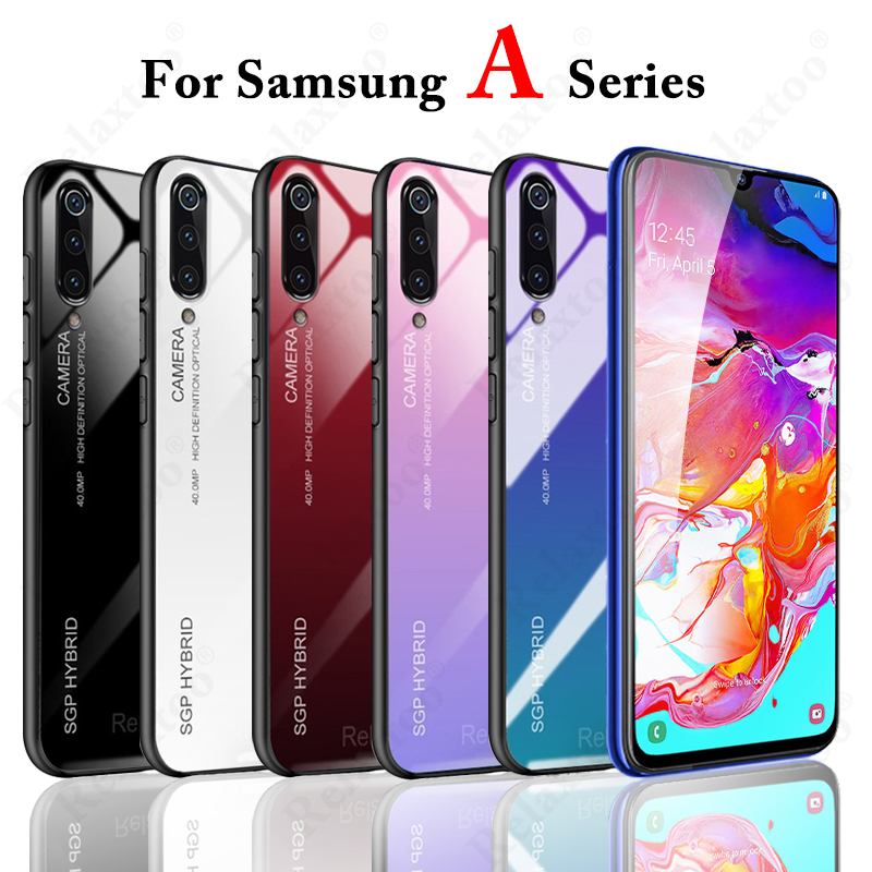 Case Tempered-Glass-Case Back-Cover A50 Gradient A70 Samsung Galaxy for on M30 A30 A20