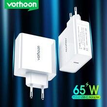 Vothoon 65w usb c carregador de carga rápida 4.0 3.0 qc4.0 pd3.0 usb c tipo c carregador rápido para macbook pro ipad pro iphone samsung