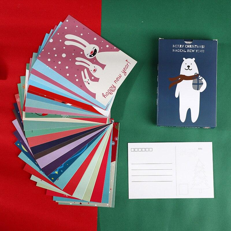 30 Pcs/Set Merry Christmas Cute Snowman Postcard DIY Cartoon Greeting Cards Message Card Xmas And New Year Gift