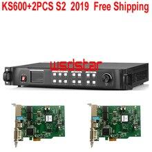 KS600 + 2 CHIẾC S2 2019 ĐÈN LED Mới Xử Lý Video 1920*1200 1024*768 DVI/VGA/HDMI/CVBS ĐÈN LED Video Treo Tường Bộ Điều Khiển Miễn Phí Vận Chuyển