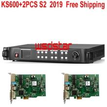 KS600 + 2 個S2 2019 新ledビデオプロセッサ 1920*1200 1024*768 dvi/vga/hdmi/cvbs ledビデオウォールコントローラ送料無料