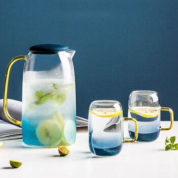 Gradiente de mármol de colores agua fría botella de vidrio resistente a altas temperaturas jarra MYDING