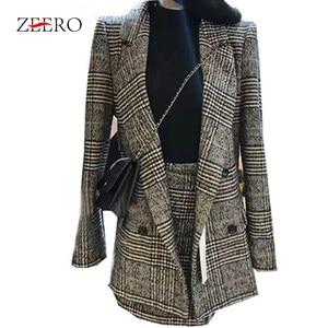 Image 5 - 2019 חורף נשים חליפות משרד משובץ טוויד ארוך שרוול מעיל מעיל בליזר הלבשה עליונה + אופנה מיני חצאית חליפת 2 חתיכה סט Vestidos