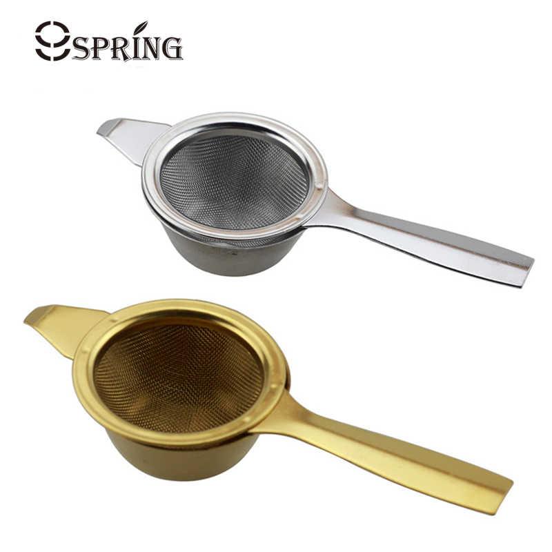 Emas Saringan Teh Stainless Steel Saringan Teh Infuser Longgar Daun Teh Saringan dengan Drip Bowl Teko Mesh Infuser Teh Aksesoris