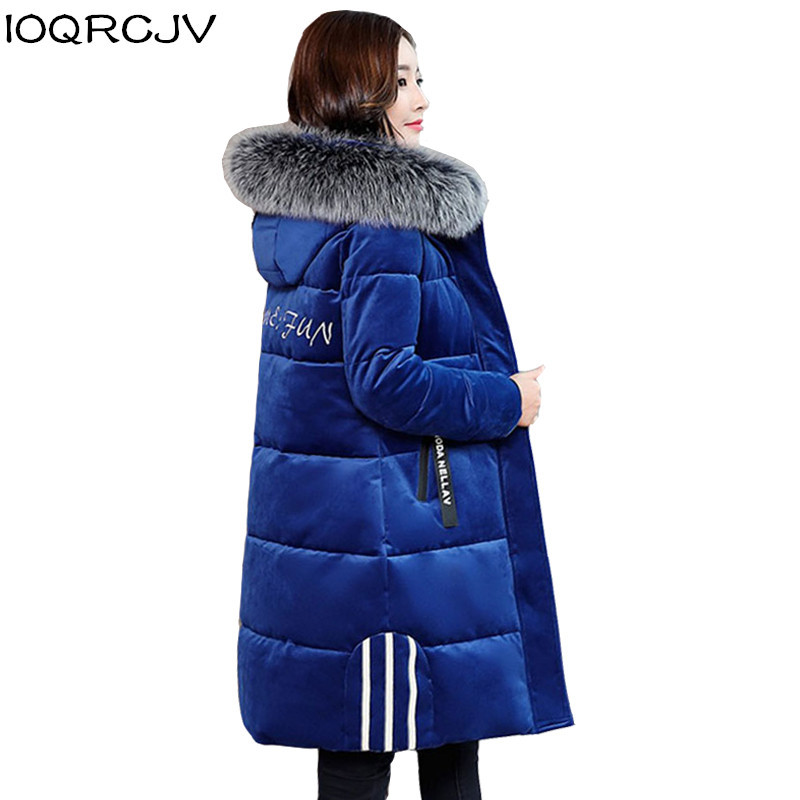 Large Size L-6XL Winter Thicken Down Cotton Jacket 2019 New Women Long Hooded   Parkas   Coats Fur Collar Casual Warm Outwear R1032
