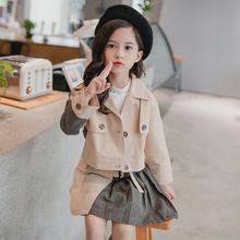 2019 spring autumn children outerwear jackets for girls trench+skirts dress with kids jacket 2pcs