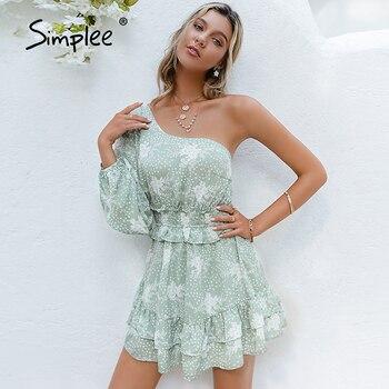Simplee Casual printing ruffle one shoulder women dress Summer long sleeve asymmetrical mini dress Fashion green holiday dresses 1