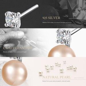 Image 3 - DOTEFFIL 925 Sterling Silve naturalna perła słodkowodna AAA Crystal stadniny kolczyki dla kobiet moda ślubna urok biżuterii