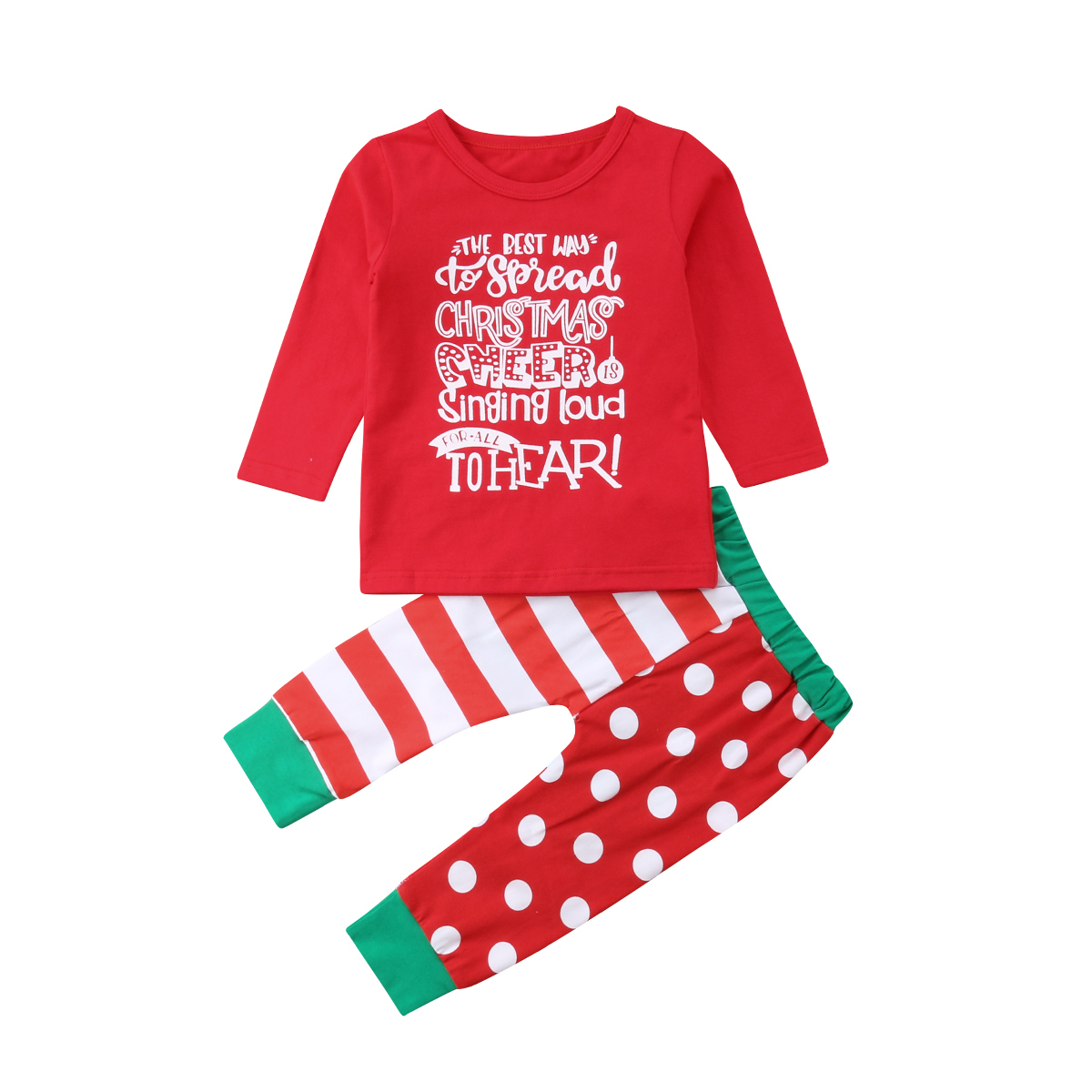US Christmas Toddler Kids Baby Girl Outfit Clothes Long Sleeve Tops Dress+Pants