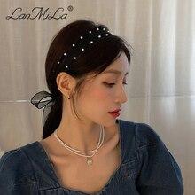 Новинка 2021, модная жемчужная лента для волос, марлевая повязка на голову, аксессуары для волос для женщин, ювелирные изделия