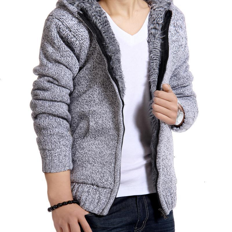 Jacket Men Thick Velvet Hooded Fur Jackets Mens Winter Padded Casual Knitted Sweater Cardigan Coats Outwear Sweatshirts Parkas