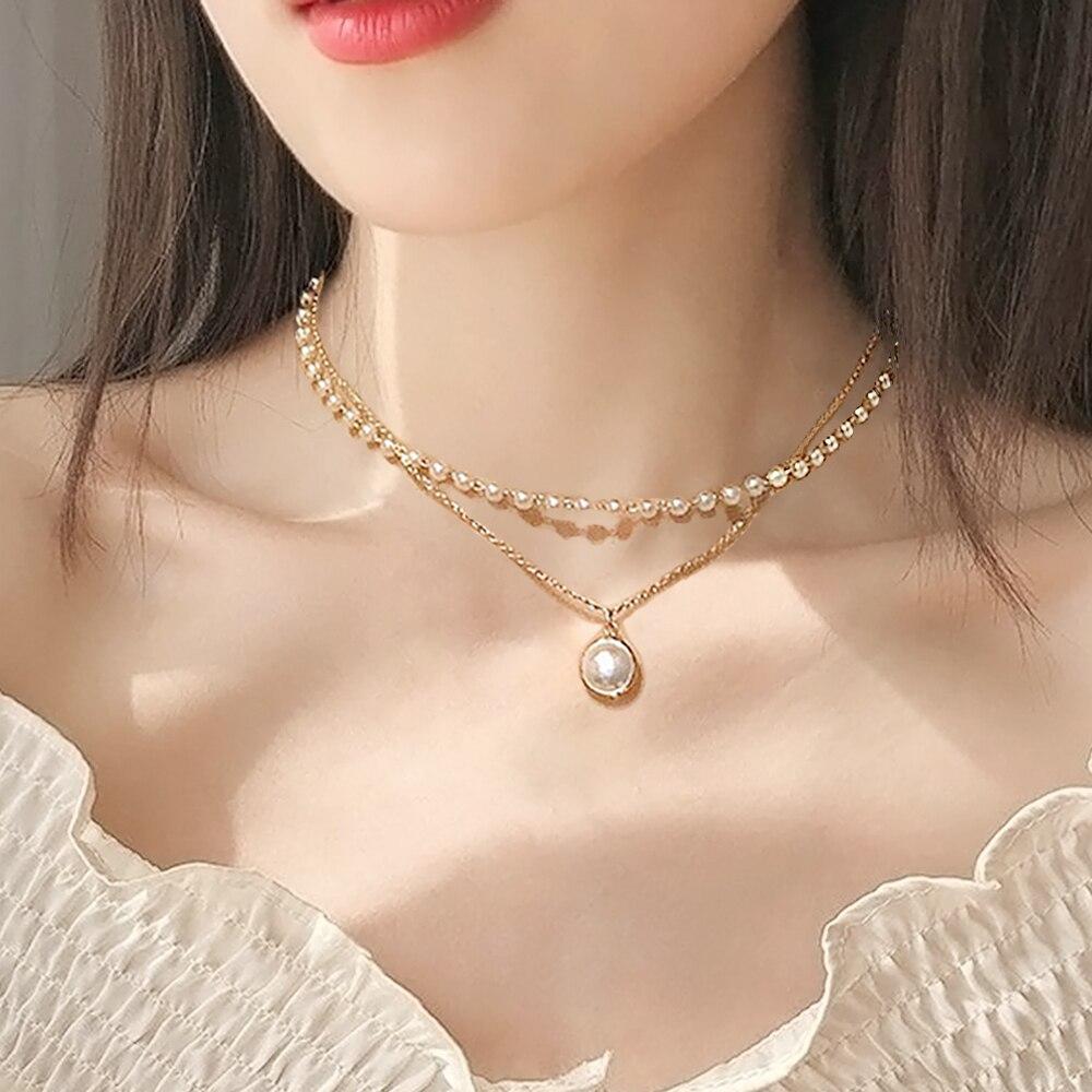Kpop Double couches couleur or tour de cou de mode pour femmes fille Imitation perle pendentif simple collier chocker collier femme