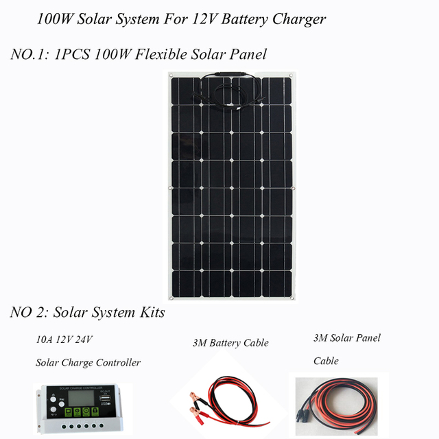 ערכת פנל סולארי 100W 200W אנרגיה סולארית מערכת מלא ערכות מונו תאים סולריים רכב סירת בית גג קמפינג 12V24V סוללה תשלום