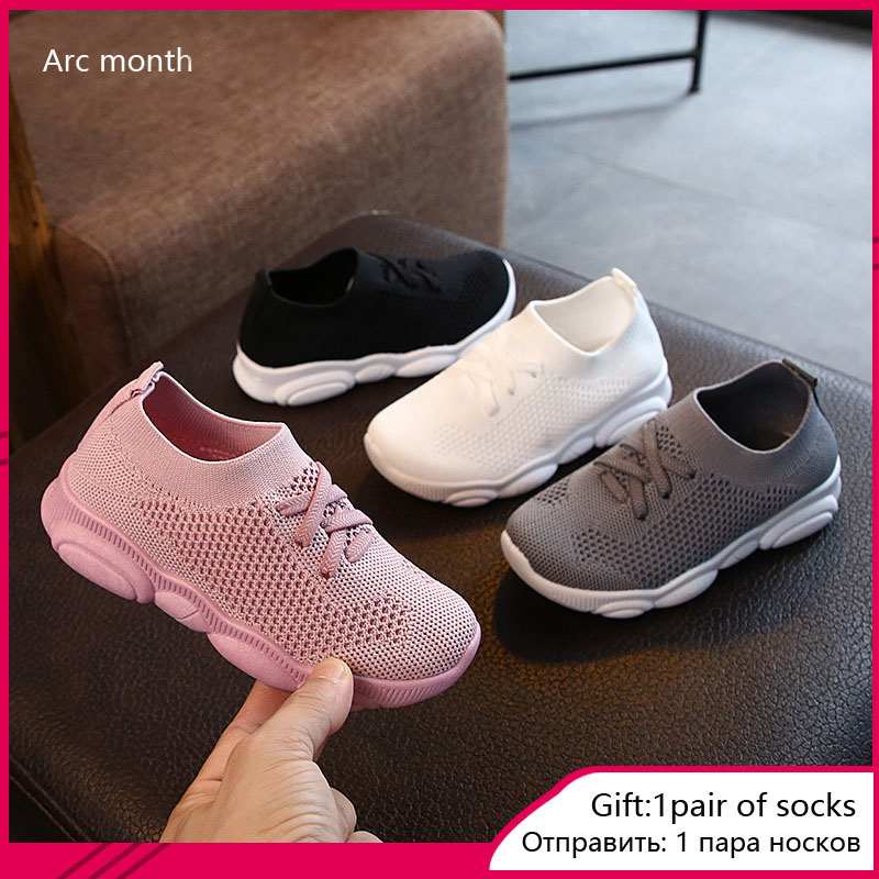 New Baby Sneakers 2020 Fashion Children's Flat Shoes Baby Kids Girls Shoes Stretch Breathable Mesh Sports Running Shoes