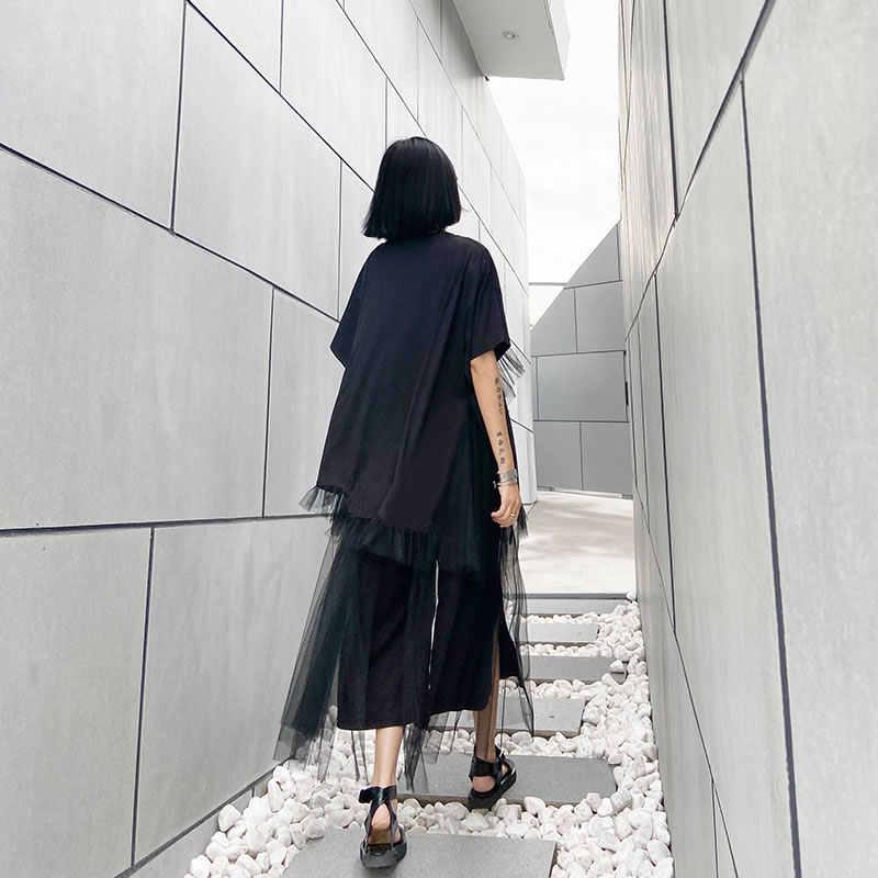 XITAO iki parçalı Set kadın moda yeni baskı mektup dantel kazak üst elastik bel gevşek Patchwork 2020 yaz zarif DMY4954