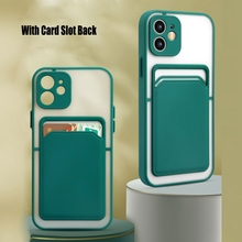 Siliconen Telefoon Case Voor Iphone 12 Pro 12 Mini X Xr Xs 7 8 Card Slot Portemonnee Funda Voor Iphone 12 11 Pro Max Lens Bescherming Cover