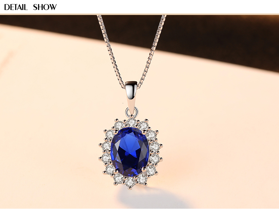 Hed798f5629324a4eac3edb7e463aab5er CZCITY Elegant Oval Princess Diana William Sapphire Pendant Necklace for Women 100% 925 Sterling Silver Charms Necklace Jewelry