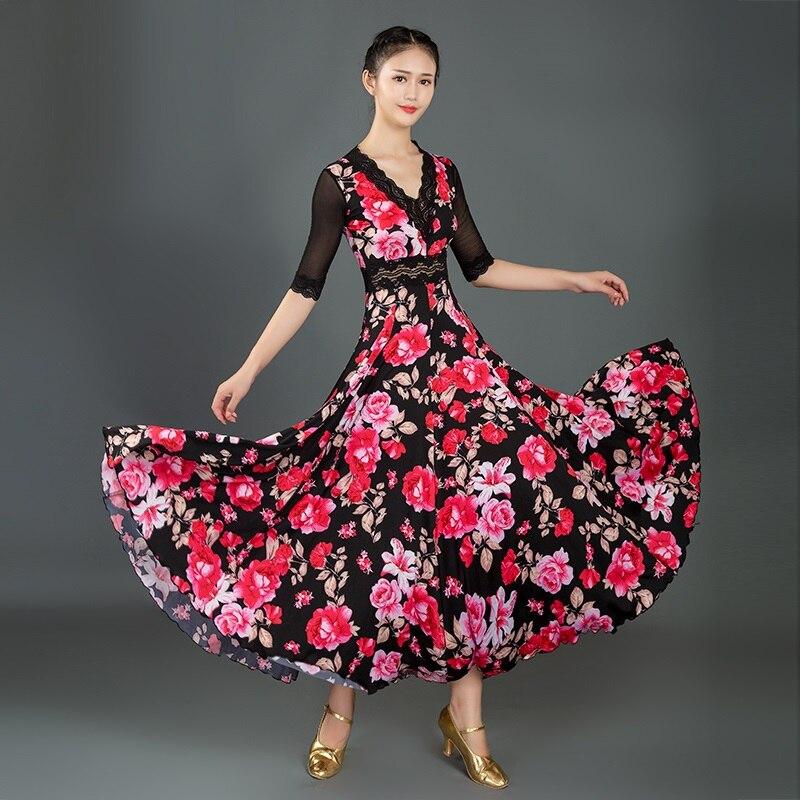 Lace stitching standard Ballroom Dance Dress waltz dress for ballroom Dancing Tango Dance costumes Spanish Flamenco Dress