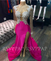 Long Mermaid Prom Dresses 2020 Sexy See Through Top Beaded Appliques High Slit Long Sleeve Fuchsia African Girl Prom Gowns