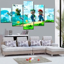 Home Decoration Canvas Prints Wall Art Pictures 5 Pieces Super Mario Bros Classic Cartoon Game Painting Framework Poster Artwork