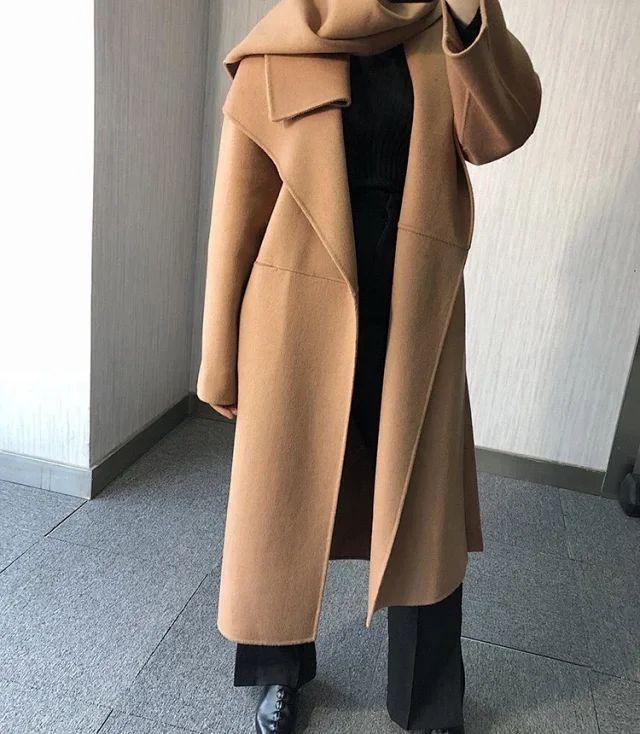€115.92 10% OFF|Frauen Graben Nordic Wolle Kaschmir Doppel konfrontiert Wolle kaschmir silhouette seite slit Lange Mantel-in Wolle & Mischungen aus Damenbekleidung bei AliExpress
