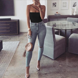 Toplook Cotton Strapless Bodysuit Women Summer Sexy One Shoulder Off Shoulder Rompers Solid Backless Party Bodysuits