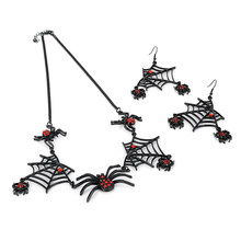 Jewelry Sets Black Spider Halloween Jewelry Set for Women Rhinestone Black Chain Choker Necklace Drop Earrings Spider Jewelry Gifts(China)