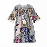 European station art stylist dress fashionable dress angel print hand nail drill temperament loose middle sleeve round neck dres