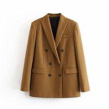 women brown solid suit blazer casual autumn 2020 office ladi