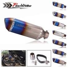 Universal Burning Blue 51MM Motorcycle Exhaust Pipe With DB Killer Muffler MotorBike Escape Pipe For Yamaha Honda KTM Kawasaki недорого