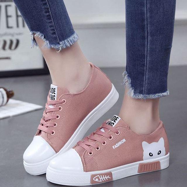 2020 zapatillas de lona vulcanizadas para mujer, zapatillas de plataforma para mujer con Gato de dibujos animados, zapatos de mesa para mujer, zapatos de punta redonda de talla grande 41 1