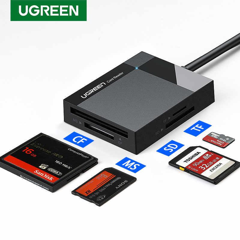 Ugreen USB 3.0 قارئ بطاقات SD مايكرو SD TF CF MS المدمجة فلاش بطاقة محول لأجهزة الكمبيوتر المحمول OTG نوع C إلى متعدد قارئ بطاقات USB 3.0
