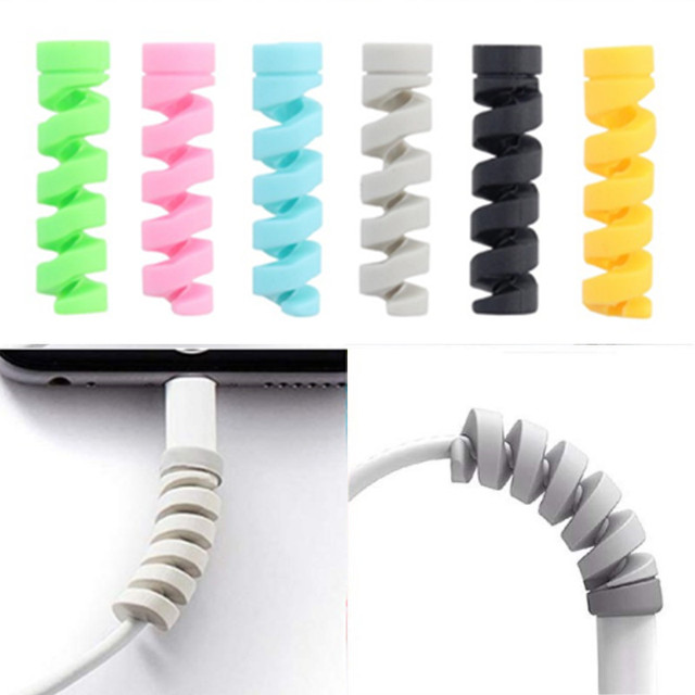 100Pcs Spiral Cable Protector for iphone Charger Cable Data Line Usb Cable Protector Silicone Bobbin winder Protective Cover