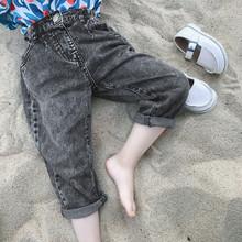 Dziewczynek chłopców czarne dżinsy spodnie dzieci cały mecz luźny dżins spodnie wiosna letnie dżinsy dla dziewczyny dorywczo luźne dżinsy dla dzieci tanie tanio BONJEAN Na co dzień Pasuje prawda na wymiar weź swój normalny rozmiar ch133 Przycisk fly Unisex Stałe REGULAR light