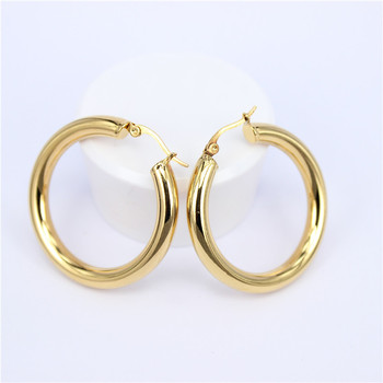Stainless Steel Hoop Earrings Earrings Jewelry Women Jewelry Metal Color: Diameter 30MM Round