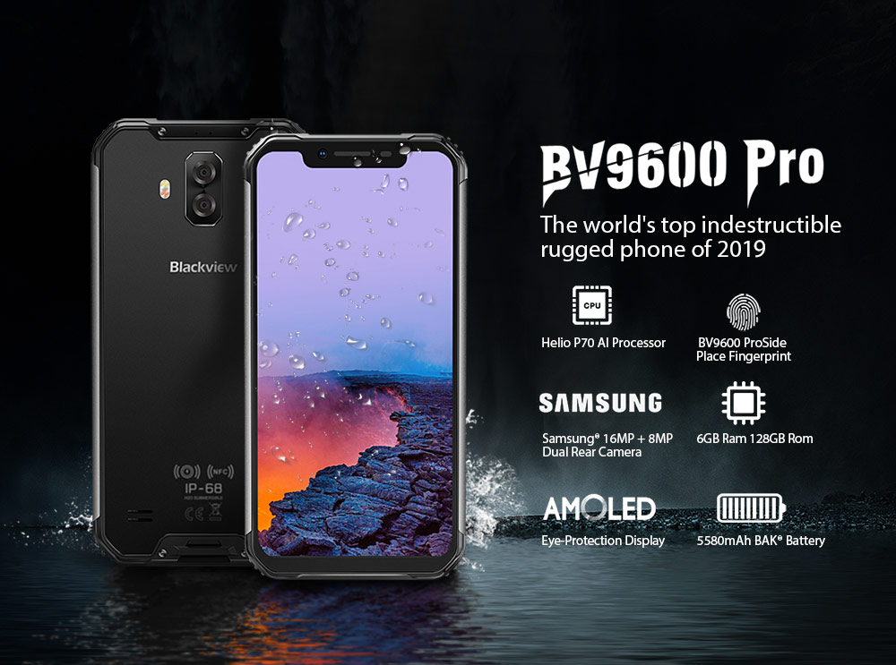 Blackview BV9600 Pro IP68 Waterproof Mobile Helio P70 Octa core 6GB RAM 128GB ROM 6.21 AMOLED Android 9.0 Rugged Smartphone 4G